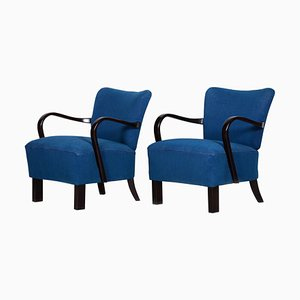 Czech Art Deco Blue & Beech Armchairs by Jindrich Halabala for UP Zavody, 1930s, Set of 2