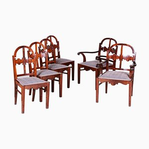 Art Deco Shellac Polished Walnut Armchairs & Chairs, 1920s, Set of 6