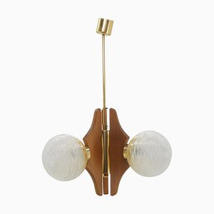 Mid-Century Wood & Glass Chandelier, Czechoslovakia, 1960s