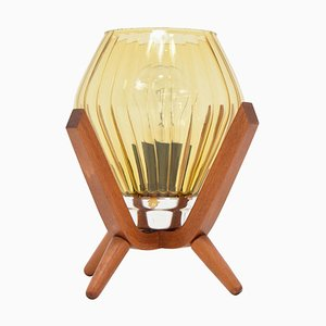 Mid-Century Wooden Bedside Table Lamp, 1960s