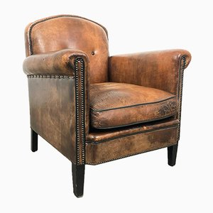 Vintage Art Deco Sheep Leather Armchair