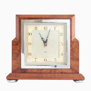 Art Deco Burr Walnut Cased 8-Day Mantle Clock from Smiths English Clock Co, 1935