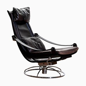 Swedish Artistic Leather Swivel Lounge Chair by Ake Fribytter for Nelo, 1970s