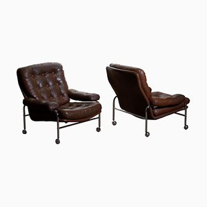 Swedish Chrome and Brown Leather Lounge Chairs from Scapa, 1970s, Set of 2