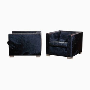 Black Leather Lounge Chairs by Rodolfo Dordoni for Minotti, 1999, Set of 2