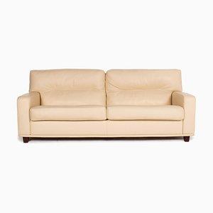 Cream Leather 2-Seat Sofa from Poltrona Frau