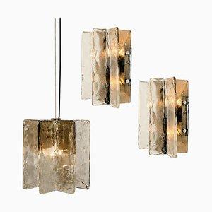 Wandlampen aus Muranoglas von Carlo Nason für Mazzega, 1960er, 3er Set