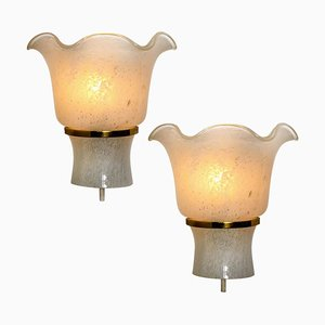 Brass and Textured Glass Wall Sconces from Doria Leuchten, Germany, 1960s, Set of 2