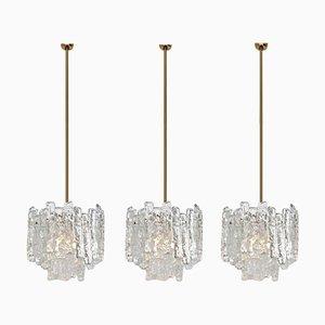 Modern Brass & Ice Glass Pendant Lamp by J.T. Kalmar, 1960s