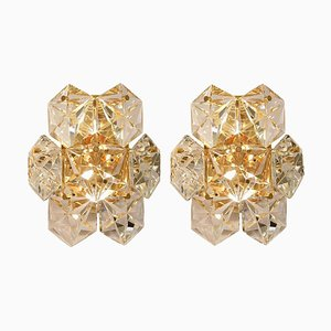 Faceted Crystal and Gilt Sconces from Kinkeldey, Austria, 1960s, Set of 2