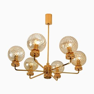 Large Gold-Plated Blown Glass Chandelier in the Style of Brotto, Italy, 1970s