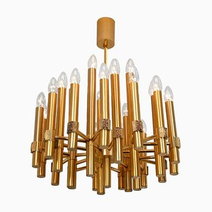 Large Brass Chandelier or Sputnik by Angelo Brotto for Esperia Italia