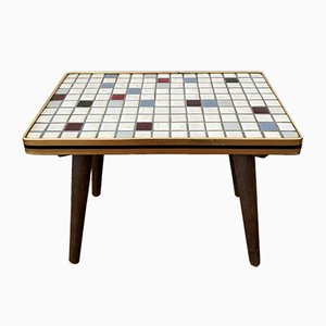 Mid-Century Mosaic Flower Stool Side Table