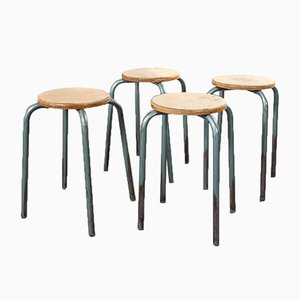Industrial French Round School Stools, 1950s, Set of 4