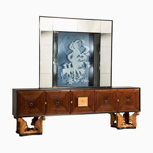 Mid-Century Italian Eclectic Mirrored Credenza & Light Blue Illuminated Mirror, 1950s