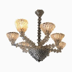 Italian White Glass Rostrato 8-Light Chandelier from Barovier & Toso, 1940s