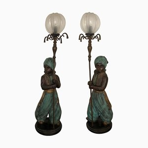 Art Nouveau Moorish Style Carved Lacquered Bronze Floor Lamps, 1950s, Set of 2