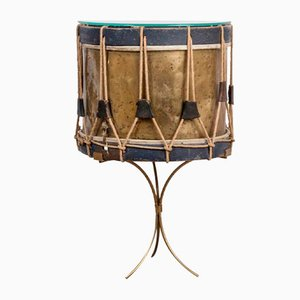 Blue & Brass Drum Table