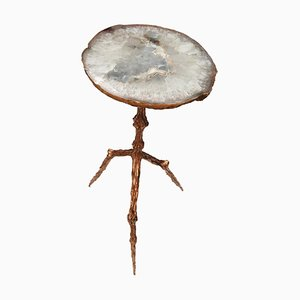 Polished Bronze Side Table with Agatha Top