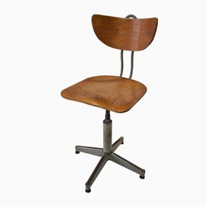 Mid-Century Industrial Adjustable Swivel Drafting Desk Chair, 1950s