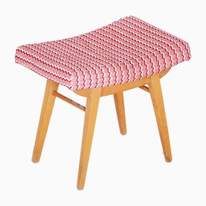 Mid-Century Red and White Beech Stool, 1960s