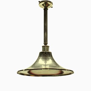 Mid-Century English Silver-Plated Ceiling Lamps, Set of 2