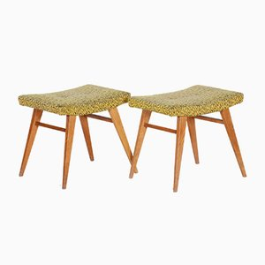 Mid-Century Yellow and Green Oak Stools, 1960s, Set of 2
