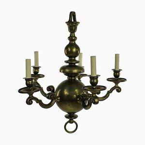 Antique Dutch Brass 5-Arm Chandelier, 1840s