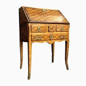 Antique Louis XV French Precious Woods Marquetry Ladys Desk in the Style of J.F Hache
