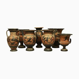 Antique Grand Tour Greek Krater Vases, Set of 7