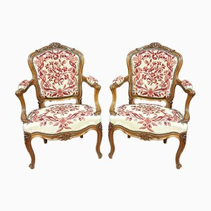 Antique Louis XV Solid Walnut Lounge Chairs, Set of 2