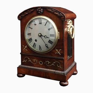 Regency English Mahogany Timepiece Mantel Clock, 1820s