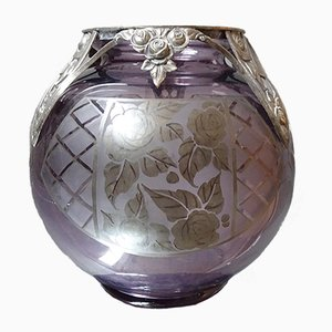 French Amethyst Glass and Silver Vase from D`Argyl, 1930s