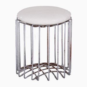 Bauhaus White Round Chrome Stool, 1960s