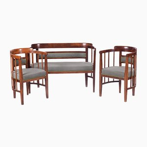 Art Nouveau Beech Living Room Set by Josef Hoffmann for Jacob & Josef Kohn, 1910s, Set of 3