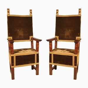 Antique Renaissance Italian Walnut Armchairs, 1600s, Set of 2