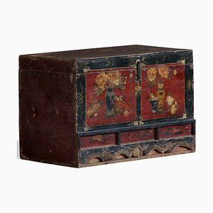 Antique Chinese Painted Qinghai Blanket Trunk