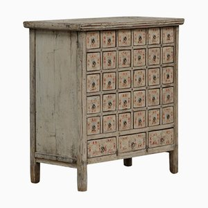 Antique Chinese Cream Lacquer Apothecary Chest