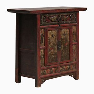 Antique Chinese Shaanxi Red Lacquered Carved Cabinet