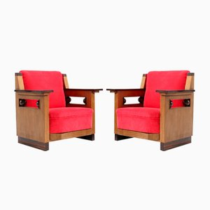 Art Deco Dutch Oak Club Chairs by Anton Lucas, 1920s, Set of 2