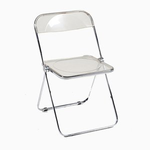 Plia Transparent Folding Chairs by Giancarlo Piretti for Castelli / Anonima Castelli, 1960s, Set of 4