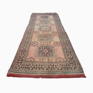 Vintage Turkish Faded Distressed Oushak Runner Rug, 1970s