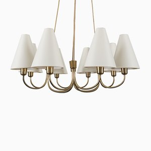 Large Mid-Century Brass Model 1069 Globus Chandelier from Rupert Nikoll, 1950s
