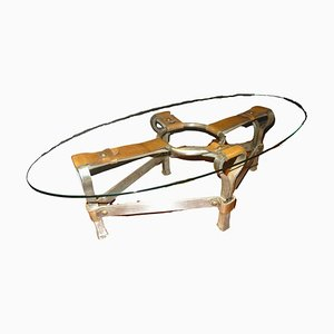 Mid-Century Coffee Table by Jacques Adnet, 1970s