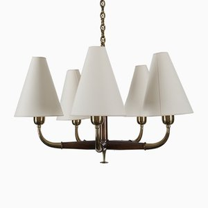 Mid-Century Austrian Brass and Walnut Chandelier by Oswald Haerdtl for Kalmar, 1950s