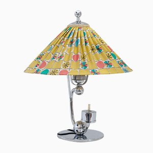 Art Deco Austrian Table Lamp with Original Fabric Shade, 1930s