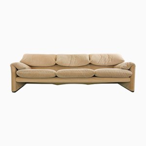 Beige 3-Seater Maralunga Sofa by Vico Magistretti for Cassina, 1990s