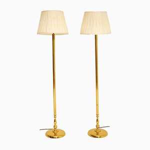Vintage Solid Brass Floor Lamps, 1990s, Set of 2
