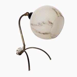 Lampada da tavolo Mid-Century in vetro e ottone di Stilnovo, anni '50