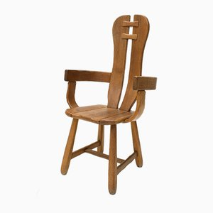 Brutalist Oak Throne Armchair from Kunstmeubelen De Puydt, 1960s